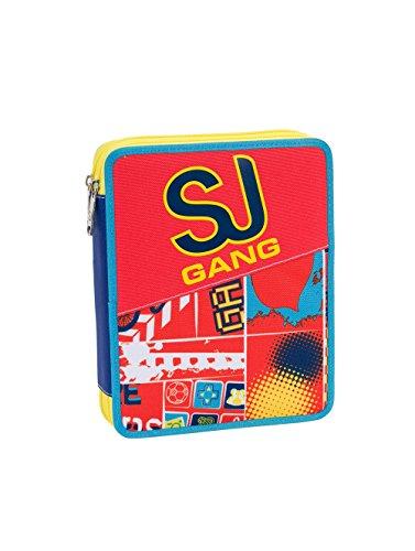 ASTUCCIO scuola SEVEN MAXI - SJ BOY - 2 scomparti - pennarelli matite gomma ecc.. Arancione Blue