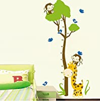 Growth Chart Giraffe Monkey Height Chart Wall Vinly Decal Decor Sticker Removable,Super for Nursery Playroom Girls and Boys Children's Bedroom