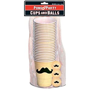 Mustache Beer Pong Pack cups and balls