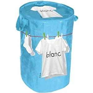 Panier à linge rond Blanc Polypropylène Bleu Avec anses Fermeture zip Incidence 41vok-FJGlL._SL500_AA300_