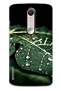 Omnam Green Leaf With Water Drop Printed Designer Back Cover Case For Motorola Moto X Force