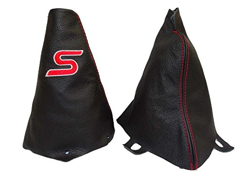 The Tuning-Shop Ltd For Mini Cooper R53 S-One 2001-2006 Manual Shift & E Brake Boot Black Leather Red S Embroidery Edition (Mini Cooper Tuning compare prices)