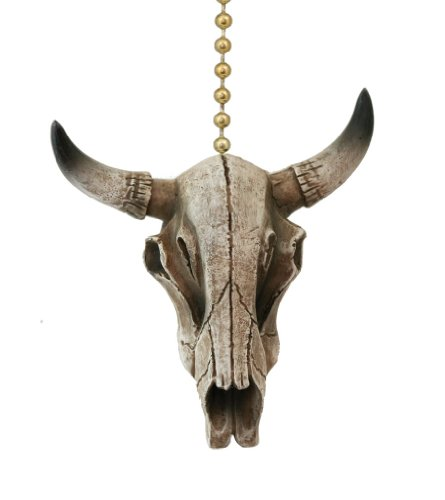 Clementine Design Steer Skull Ceiling Fan Pull Home Decor Chain Light front-841619