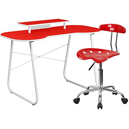 Flash Furniture Computer Desk With Monitor Stand And Tractor Chair, Red