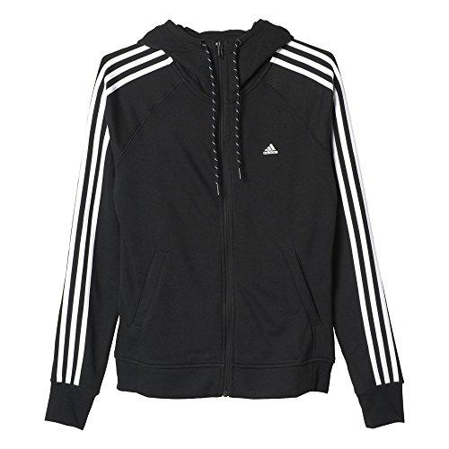 Adidas Ess 3S Hoody Felpa per Donna, Nero/Bianco (Nero/Bianco), M