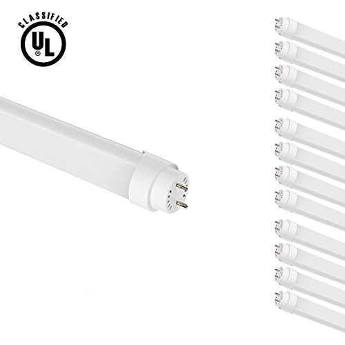 Le Brightest 18W 4 Foot T8 Led Tube Lights, 60W Fluorescent Tube Replacement, Warm White, Ul Approved, Pack Of 12 Units