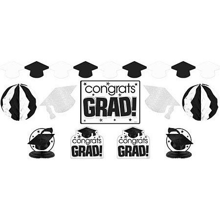 White Graduation Decorating Kit per pack
