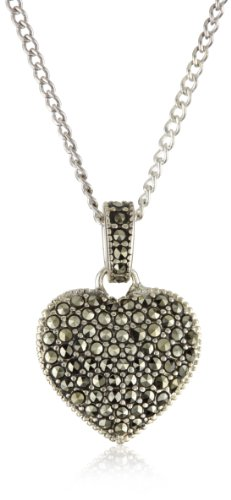 Judith Jack Sterling Silver Marcasite and Crystal Pave Reversible Heart Pentant Necklace, 16