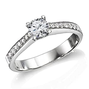 GIA Certified, Round Cut, Solitaire Diamond Ring in 18K Gold / White (1/2 ct, H Color, VVS2 Clarity)