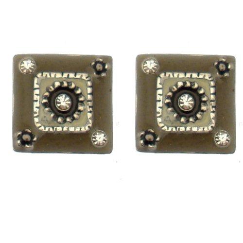 """Acosta-Shadow """", smaltato, con cristalli Swarovski, misura piccola, stile Ethic-Orecchini a bottone, forma quadrata, in confezione regalo"""