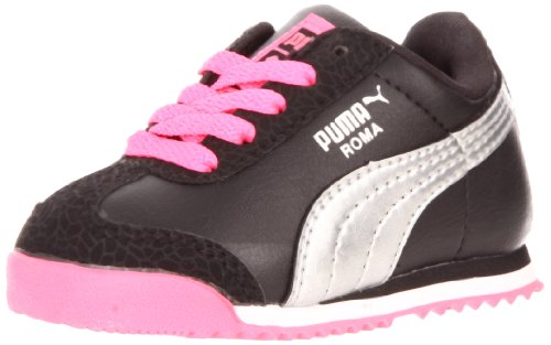 Puma Roma Flower Kids Sneaker (Toddler/Little Kid),Black/Puma Silver/Fluorescent Pink,10 M US Toddler