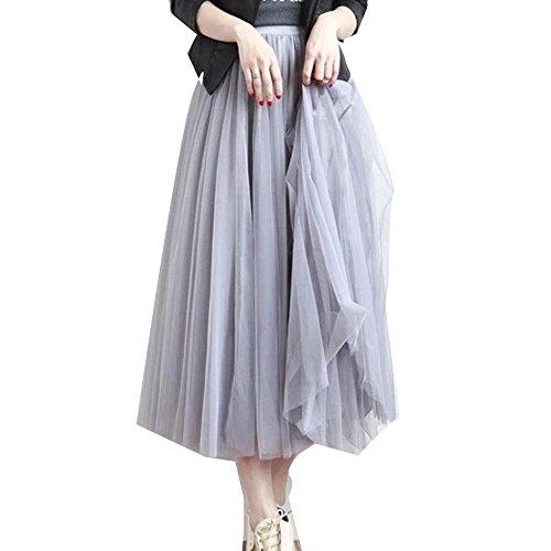 5枚チュール重ねふんわりAライン透けチュールロングスカート♪ チュールスカート ロングスカート チュールスカート スカート ロング バレエ チュチュ 大人用 (ロング丈, Gray(グレー))