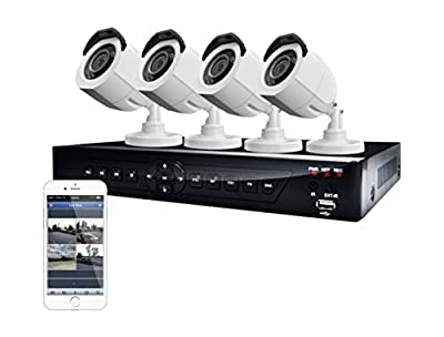 LaView Security System with 500GB Surveillance HDD and 4 x 600TVL Day/Night Bullet Cameras (Silver)