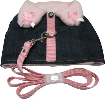 Dog Or Cat Pink Collar Denim Jacket Soft Harness (With Leash) *Medium* front-955988