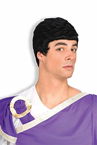 Julius Caesar Wig Black Greek God Mens Roman Costume Accessory Short Hair Style