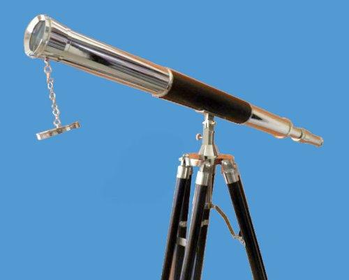 "Large 39"" Leather-Mounted Brass Harbormaster Telescope W 5-Foot Teak Tripod. Afrika Korps"