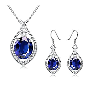 iCAREu Navy Blue Platinum Plated Teardrop Zircon Jewelry Sets for Wimen (Dangle Earrings, Necklace),18