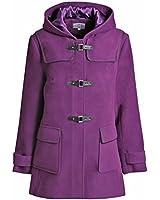 Ladies Womens Duffle Wool Coat Winter Hooded Toggle Jacket Plus Sizes