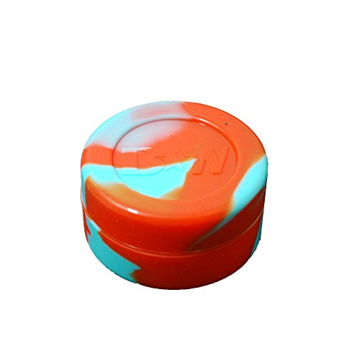 10 Aqua With Orange Non-Stick Shatter Concentrate Silicone Jar Container Bho Oil Wax
