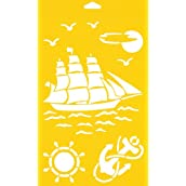 30cm x 17.5cm Reusable Flexible Plastic Stencil for Cake Design Decorating Wall Home Furniture Fabric Canvas Decorations Airbrush Drawing Drafting Template - Old Frigate Boat Ship Sea Ocean Anchor