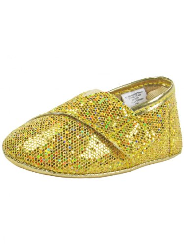 Girls Metallic Sparkle Slip-On Baby Sneakers By Stepping Stones - Gold - 3 Infant / 6 Mths-9 Mths front-304253