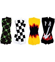 juDanzy Rockin 4-pack leg warmers flames, skulls, race flags& guitar for babies, toddler, child