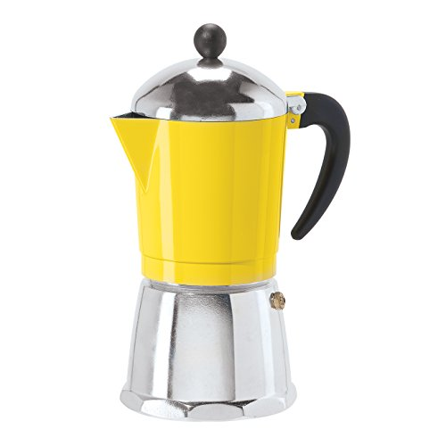 6 Cup Cast Aluminum Stovetop Espresso Maker (355 ML./12 Oz.), Yellow