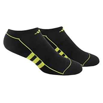 adidas Men's ClimaLite II No Show Sock (Pack of 2), Black/Ray Green, One Size, Fits Shoe Size 6-12