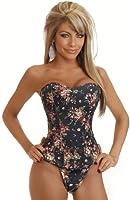 Exclusive Vintage Black or Blue Denim Floral overbust corset make up the party show, size 6-16