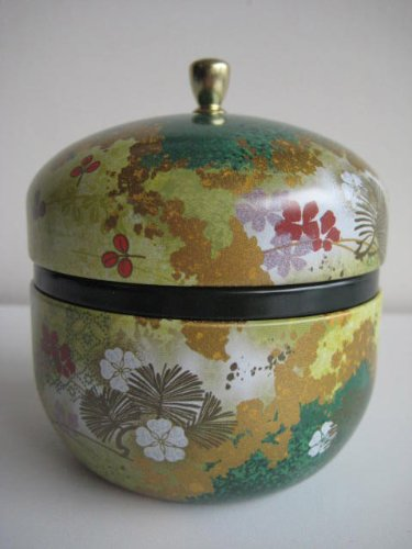 Japanese Tea Canister Suzuko - Flower (Green) 1