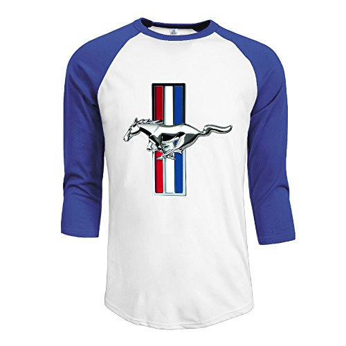 R Hot Men's Ford Mustang GT Jersey Baseball T Shirt Neck Cotton Blend 3/4 RoyalBlue (Ford Jersey compare prices)