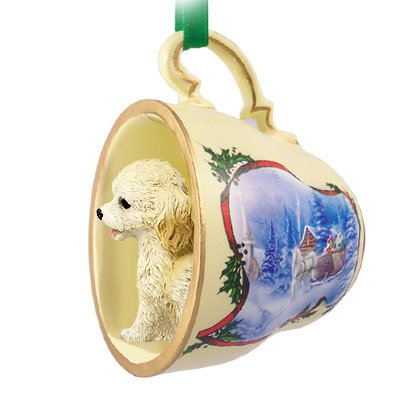 Cockapoo Blond Tea Cup Sleigh Ride Holiday Ornament (Set of 3)