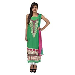 Kashish Creations Women Zari Green & Majenta Semi Stitched Salwar Suit