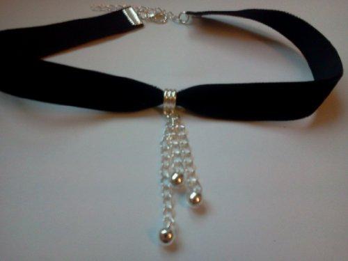 Classic Gothic Emo Black 16mm Velvet Jingle Bell Charm Choker Necklace Chain