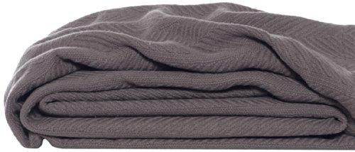 Eddie Bauer 200610 Herringbone Cotton Blanket, Full/Queen, Mushroom
