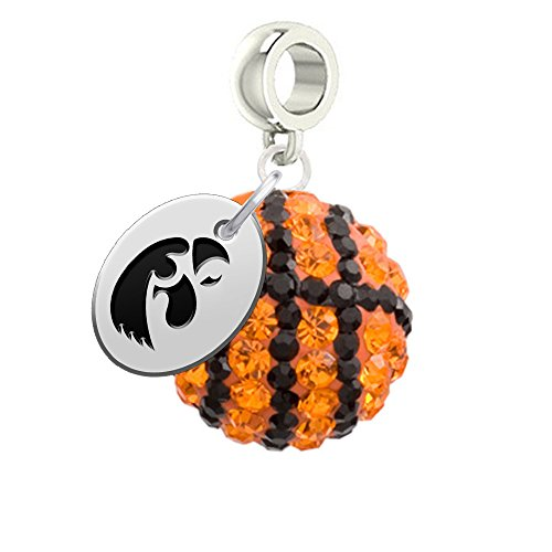 Iowa Hawkeyes Basketball Drop Charm Fits All European Style Charm Bracelets