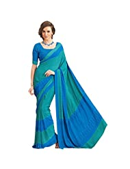 Sun Merchandise Beautiful Blue & Green Color Crape Saree