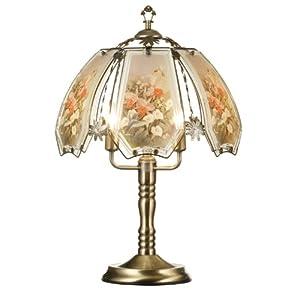 Dorm Bedside Table ORE International K307 Glass Hummingbird Pastel Scene Touch Lamp ...
