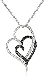 Sterling Silver Black and White Diamond Double Heart Pendant Necklace (1/4 cttw, ), 18