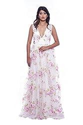 White organza evening gown