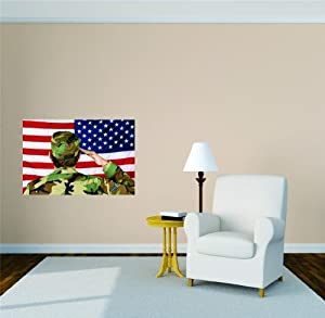 Military war army soldier saluting united states american for American flag bedroom ideas
