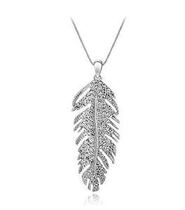 Collier Femme - Plume - Cristal - Blanc - 45 cm