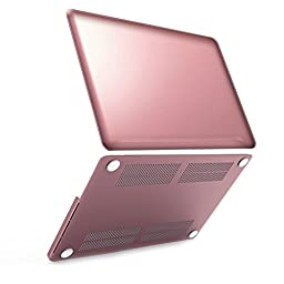 iBenzer - Soft-Skin Smooth Finish Soft-Touch Plastic Hard Case Cover for Macbook Pro 13.3\'\' with Retina Display NO CD-ROM (A1502 / A1425), Metallic Pink MRN13MPK