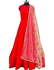 D&J INTERNATIONAL Art Silk Red Plain Semi Stitched Long Anarkali Suit