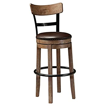 Ashley Furniture Signature Design - Pinnadel Swivel Bar Stool - Pub Height - Light Brown