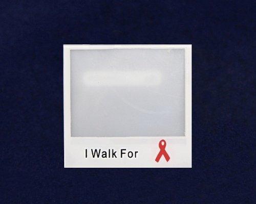 Red Ribbon Photo Pin- I Walk For (25 Pins)