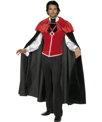 Smiffy's Men's Gothic Manor Vampire Costume Male Shirt with Attached Cravat