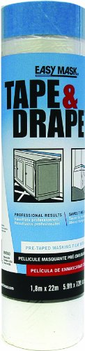 Trimaco 72-Inch by 75-Feet Tape'n Drape Pre-Taped Mask Film 949660
