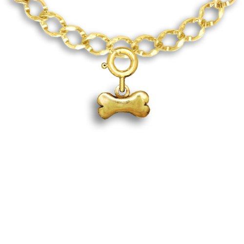 14K Gold Dog Bone Charm For Charm Bracelet By The Magic Zoo