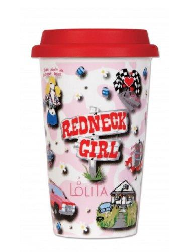 C.R. Gibson Lolita Double Wall Porcelain To-Go Coffee Cup, Redneck Girl